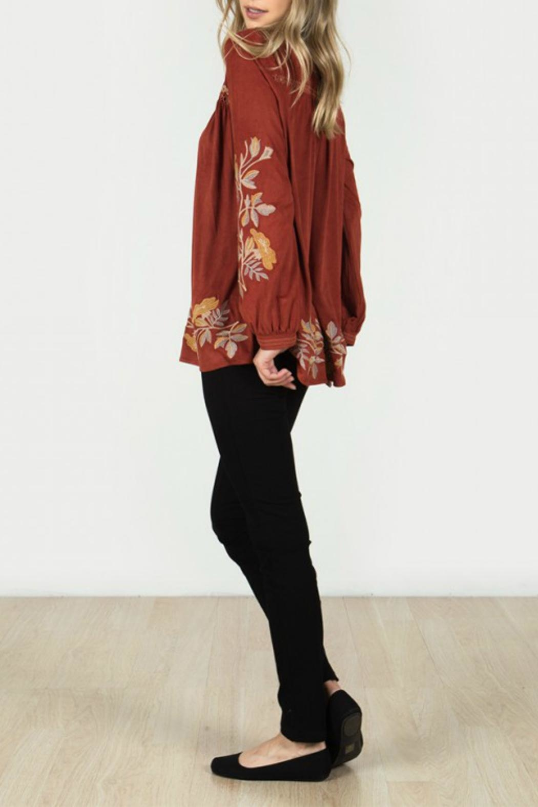 Monoreno Faux Suede Top - Front Full Image