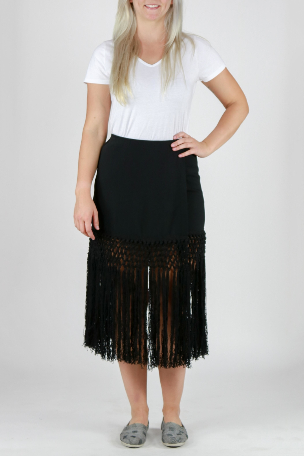Monoreno Fitted Fringe Skirt - Main Image