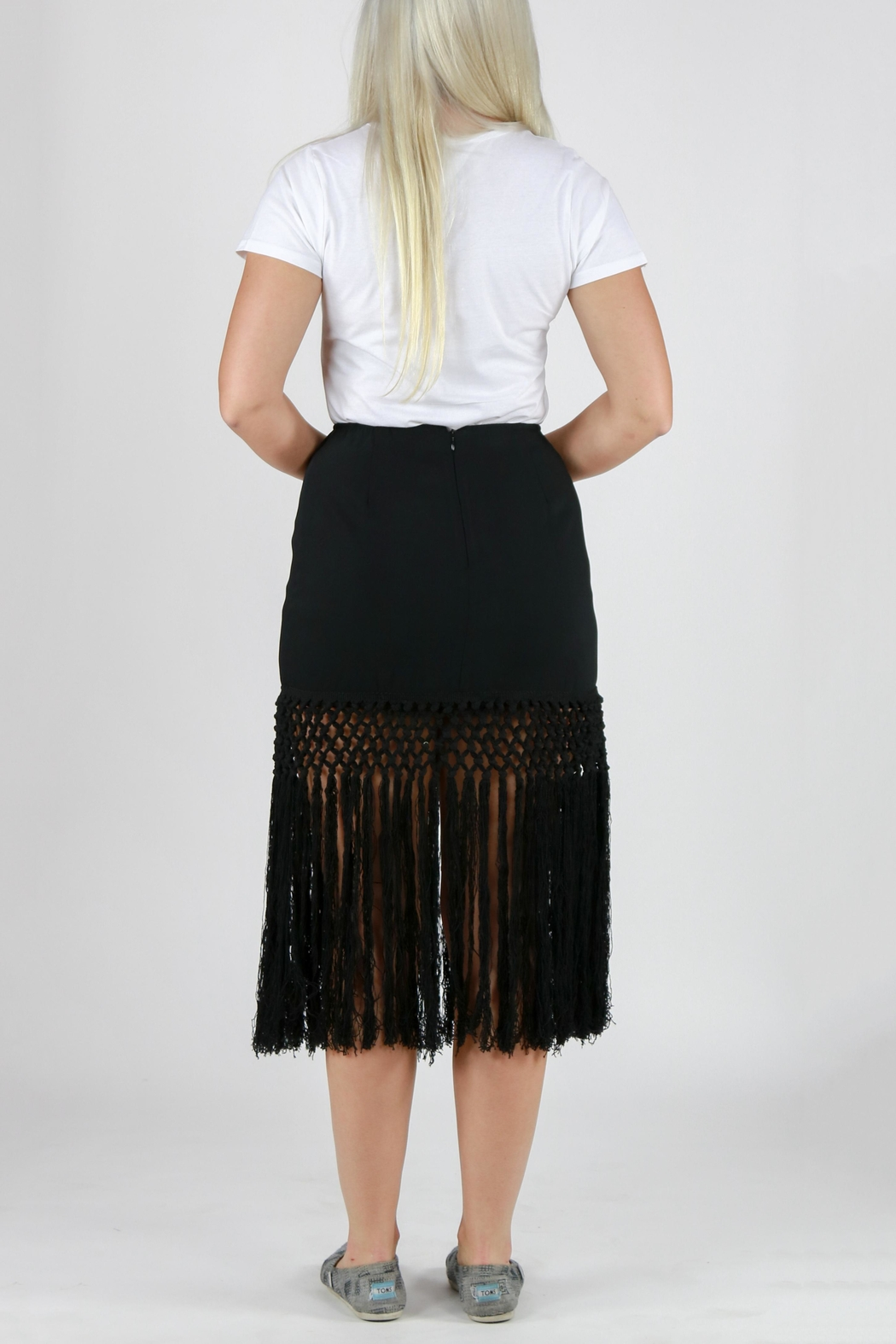 Monoreno Fitted Fringe Skirt - Side Cropped Image