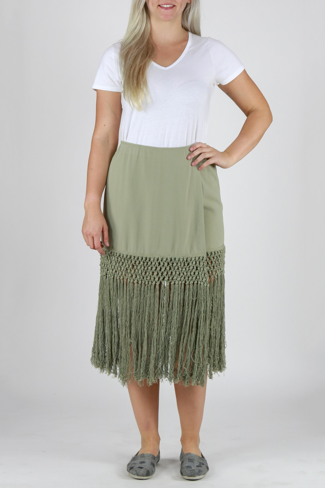 Monoreno Fitted Fringe Skirt - Front Cropped Image
