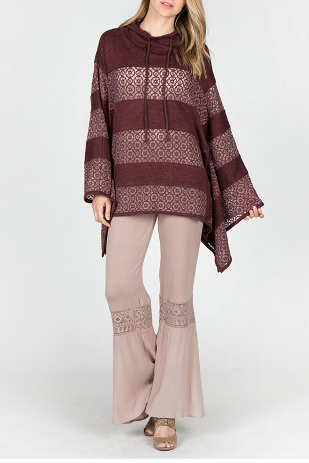 Monoreno Geometrics Poncho Sweater - Front Cropped Image