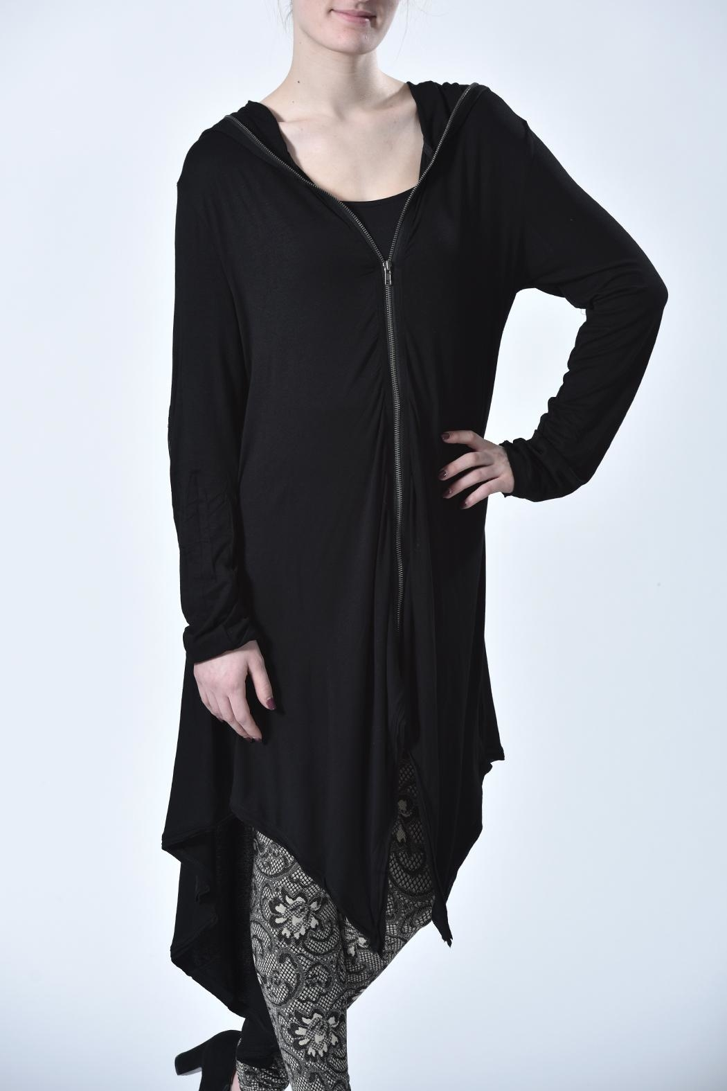 Monoreno Hooded Zip-Up Cardigan - Front Full Image