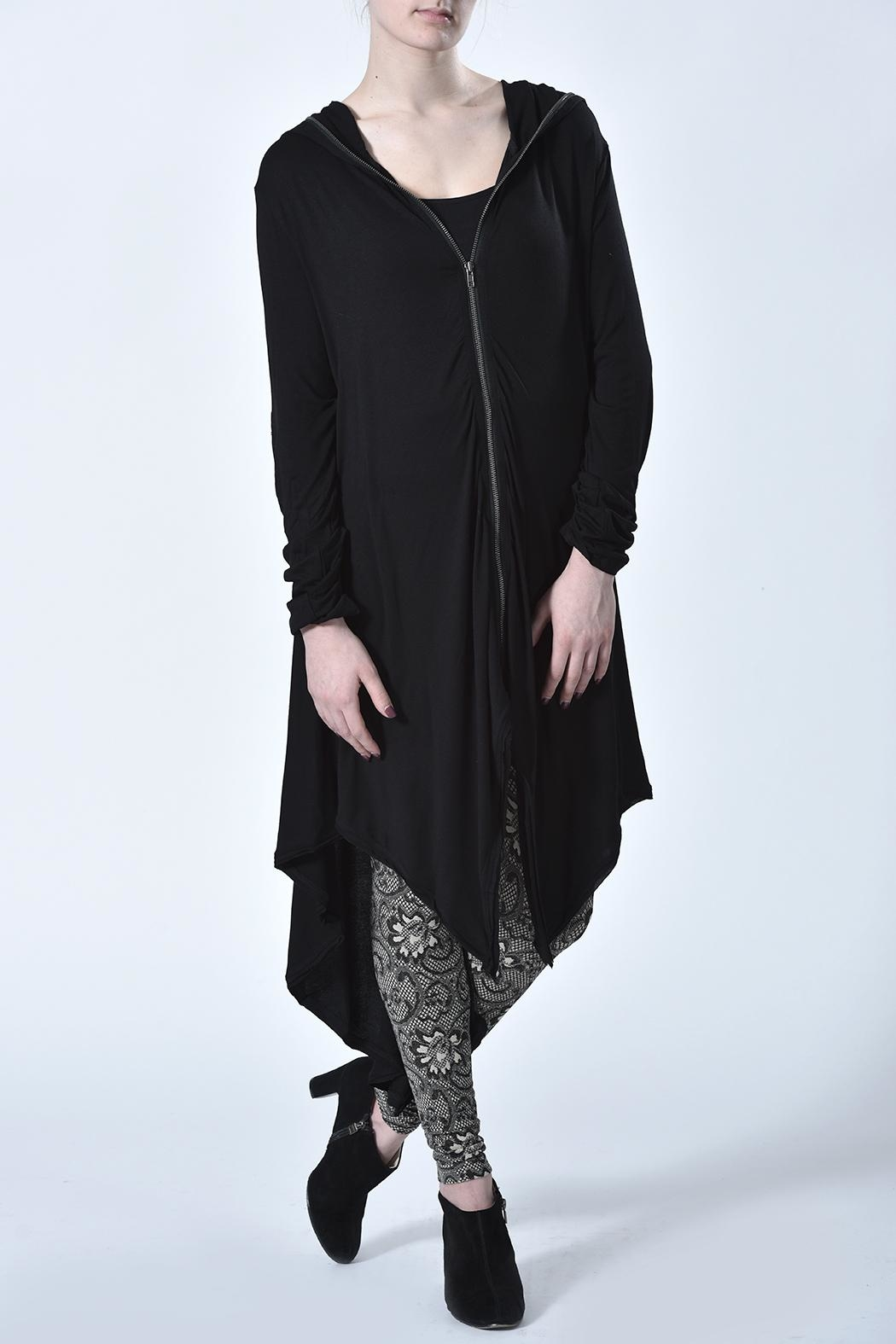 Monoreno Hooded Zip-Up Cardigan - Front Cropped Image