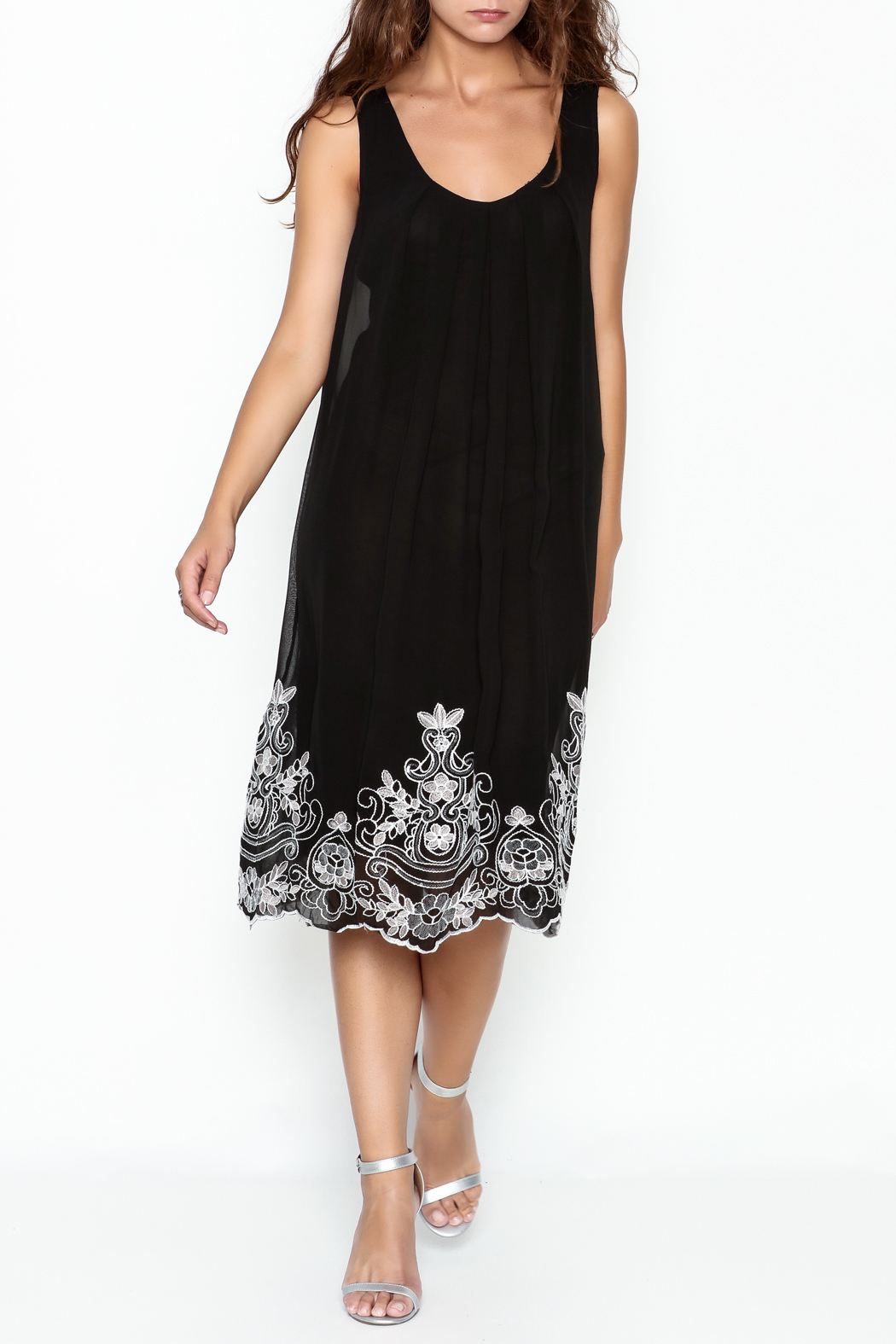Monoreno Black Sequin Floral Dress - Main Image