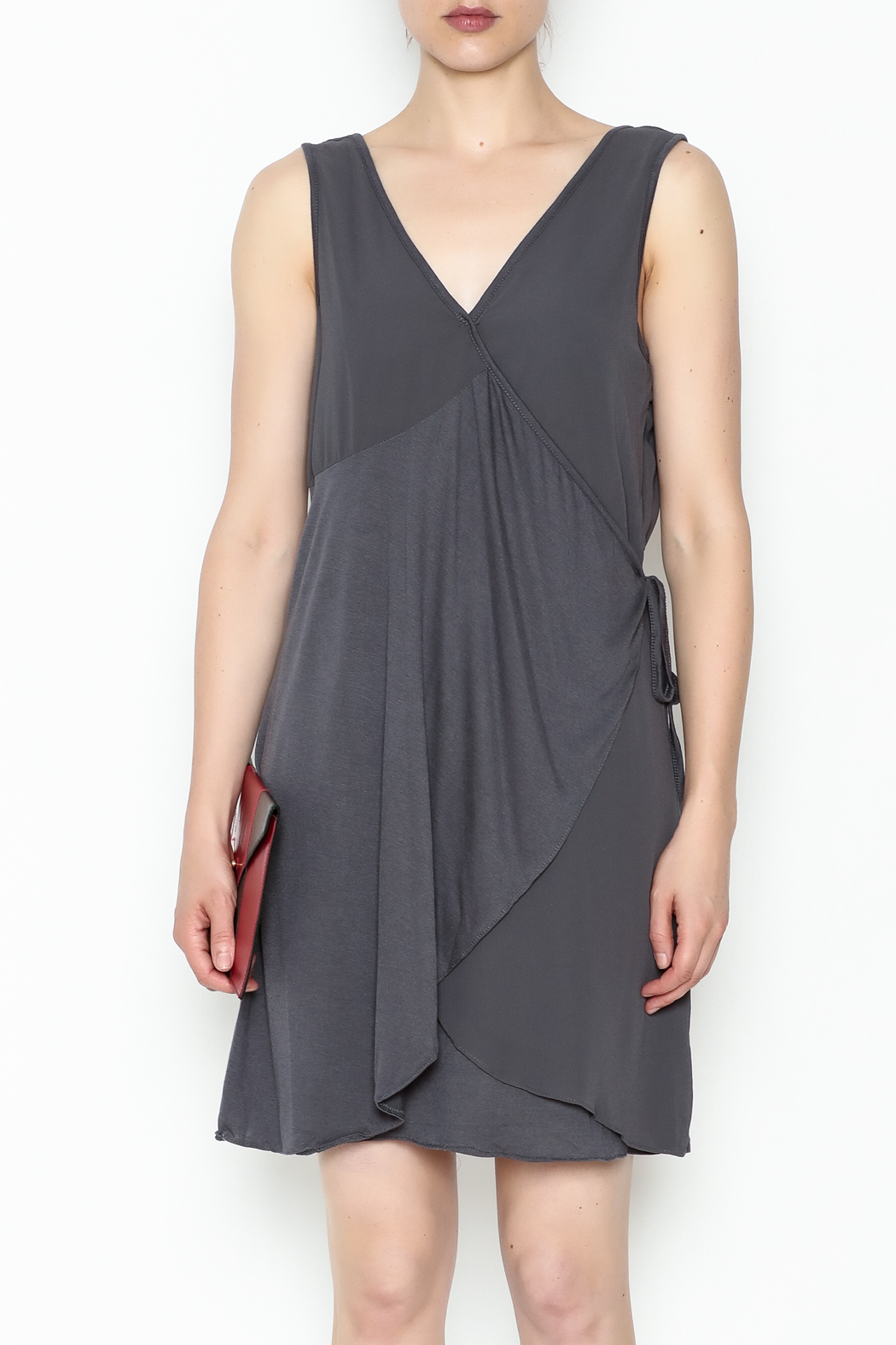 Monoreno Charcoal Wrap Dress - Front Full Image