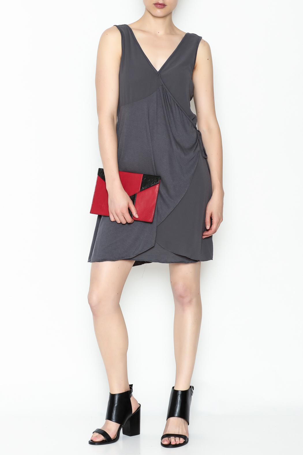 Monoreno Charcoal Wrap Dress - Side Cropped Image