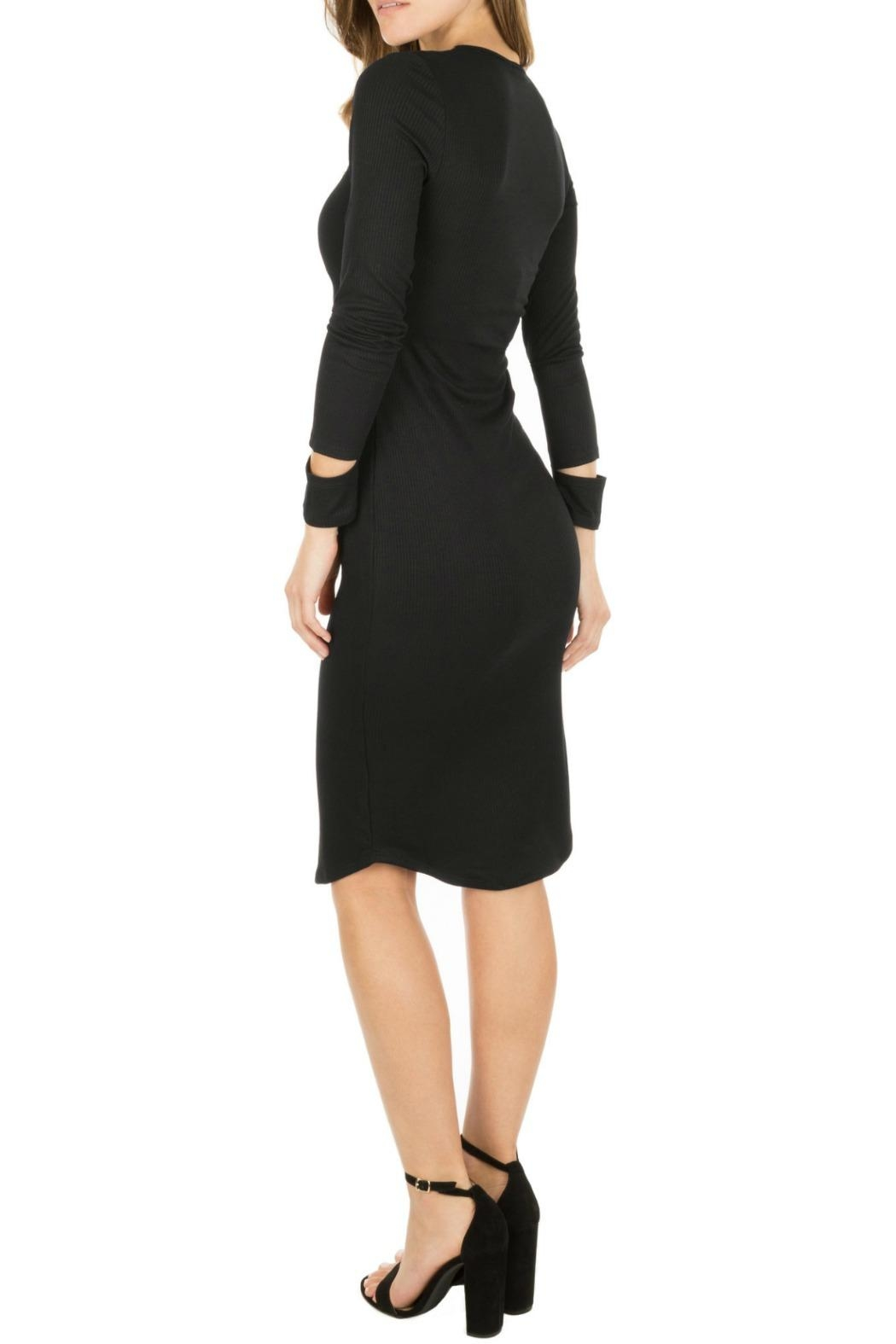 Monrow Cut Out Cuff Dress - Back Cropped Image