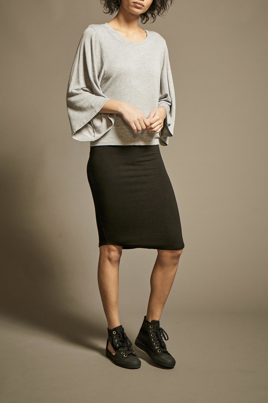 Monrow Fine Knit Pencil-Skirt - Front Full Image