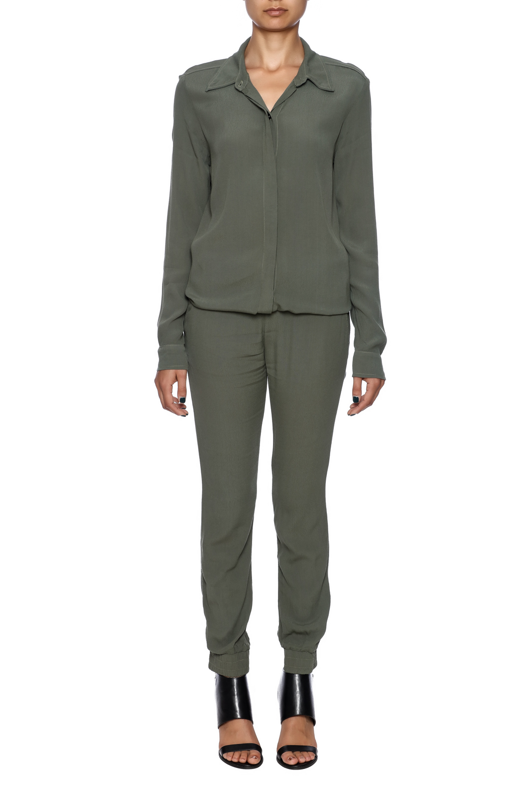 f47bff661b1 Monrow Long Sleeve Crepe Jumpsuit from New Jersey by Seagrass ...