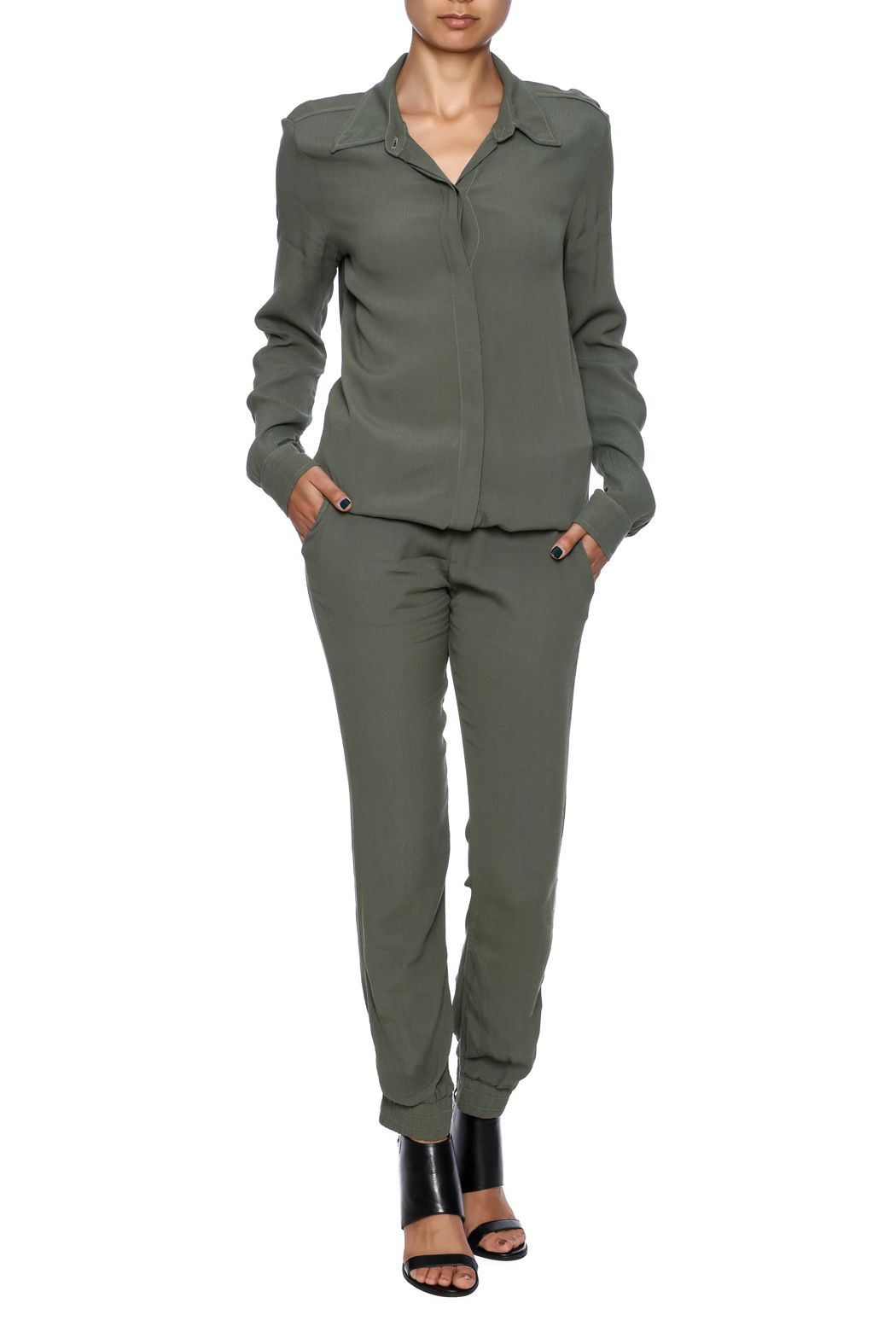 b5d929bef1db Monrow Long Sleeve Crepe Jumpsuit from New Jersey by Seagrass ...