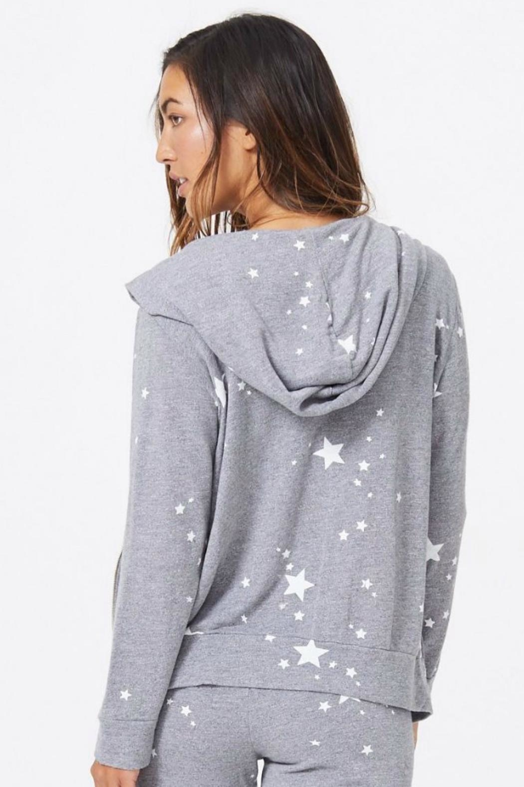 Monrow Star Print Zip-Up - Back Cropped Image