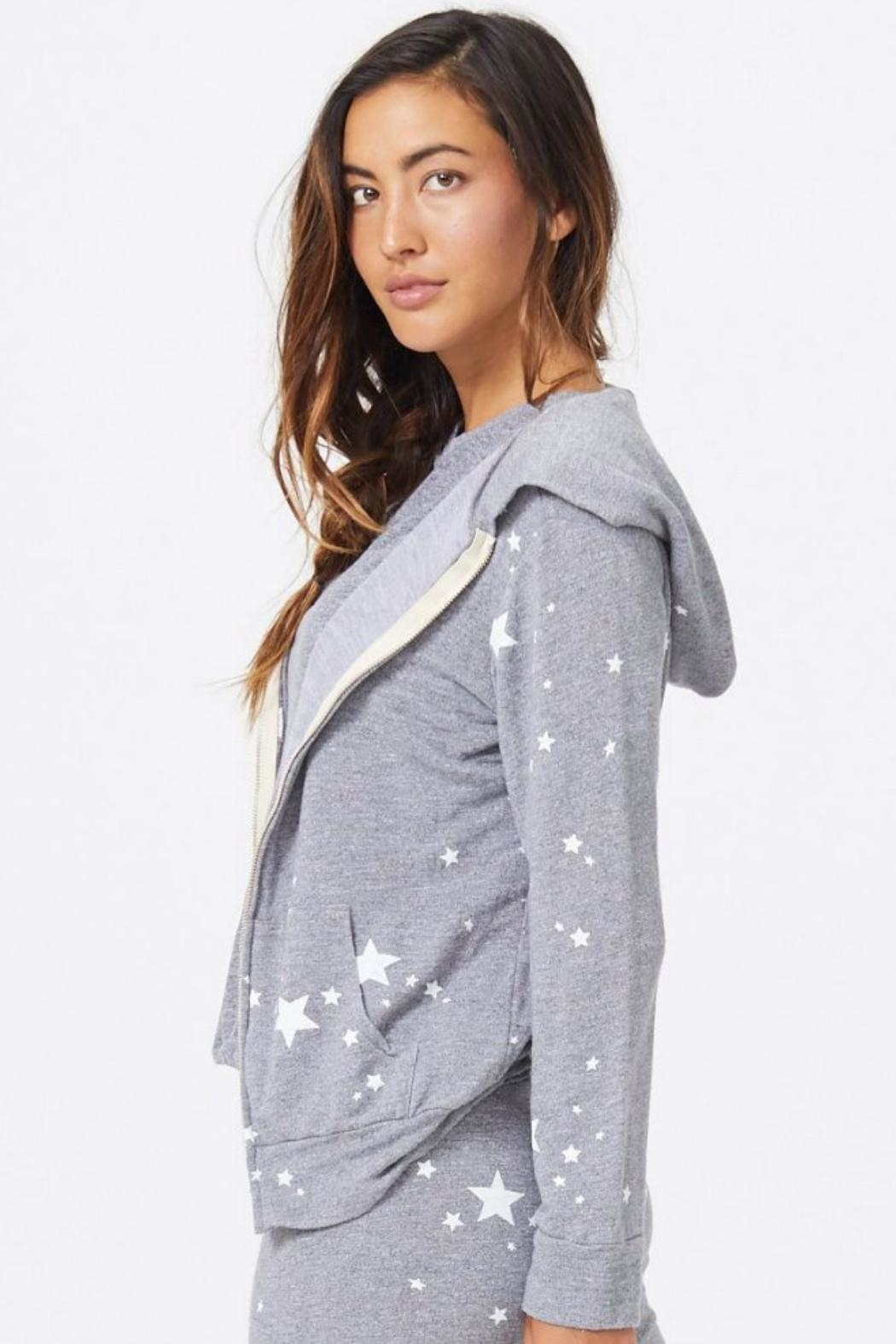 Monrow Star Print Zip-Up - Side Cropped Image