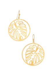 Girly Monstera Cutout Earrings - Product Mini Image