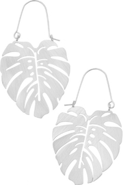 Girly Monstera Leaf Hoop Earrings - Product Mini Image