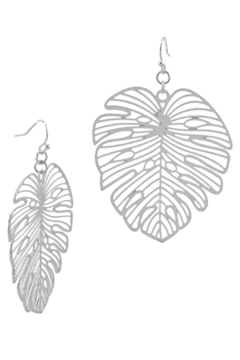 Shoptiques Product: Monstera Leaf Laser-Cut Earrings