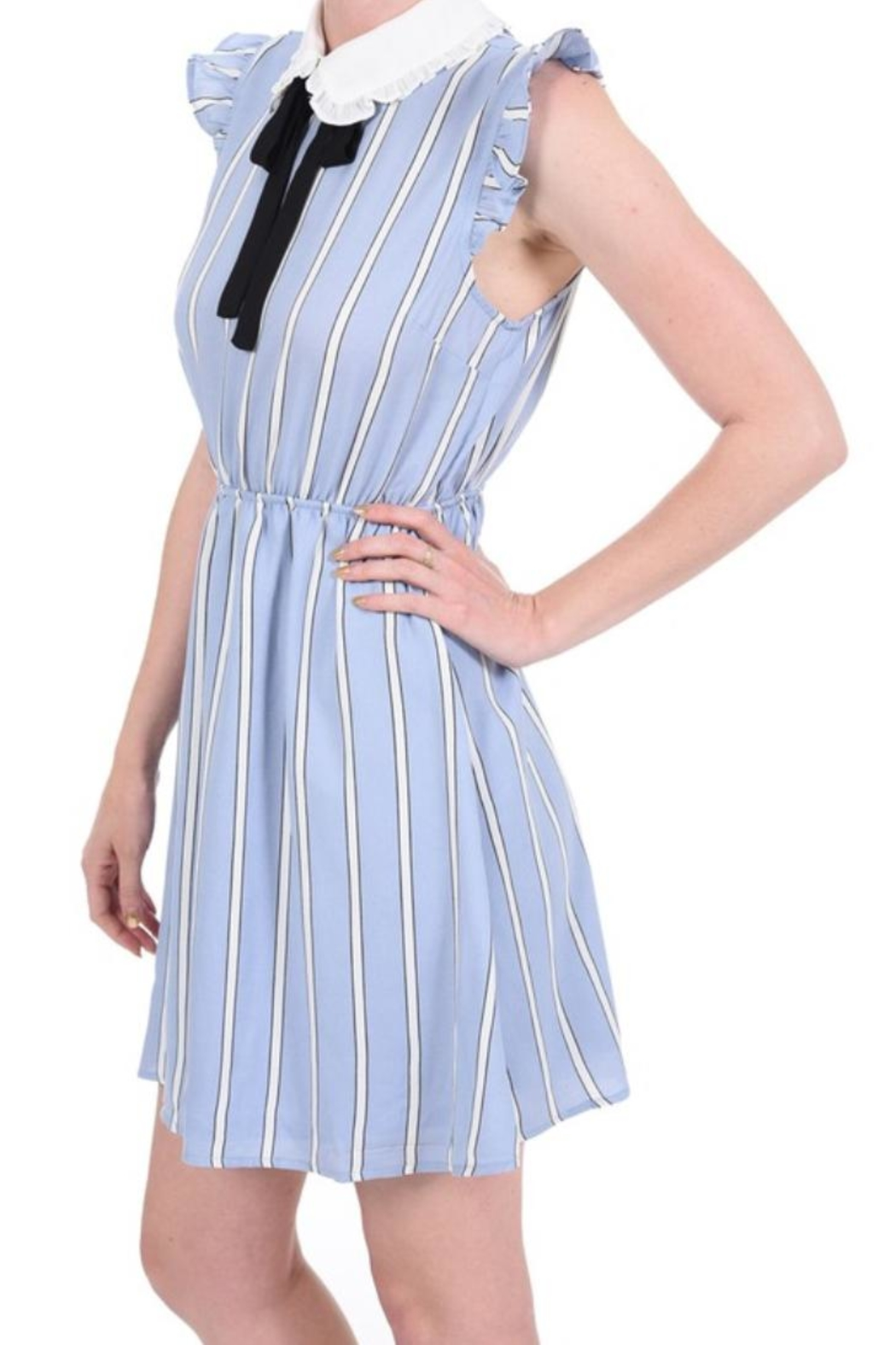 Monteau Stripe Blue Dress - Side Cropped Image