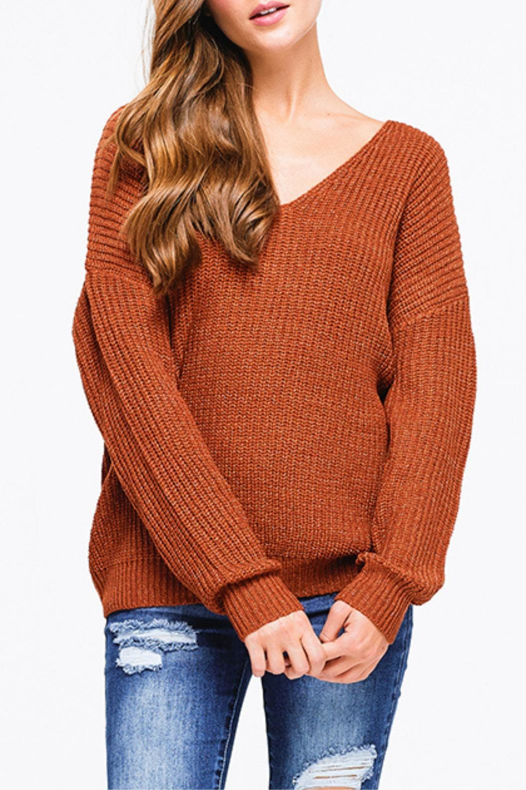 Montez Renault Rust Twist=back Sweater - Front Full Image