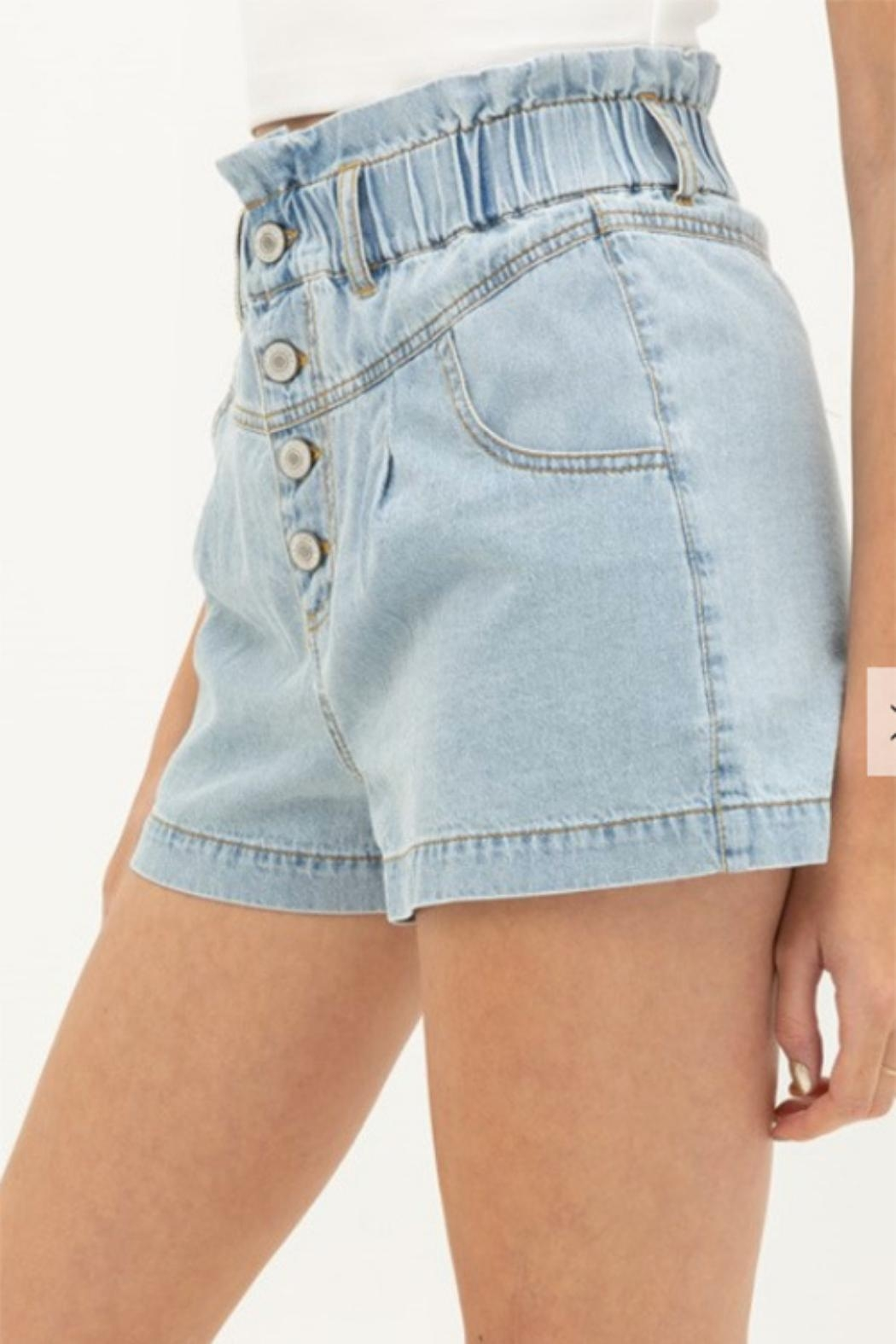 MONTREZ Buttoned Denim Shorts - Front Cropped Image