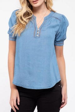 MONTREZ Crochet-Trim Chambray Top - Product List Image