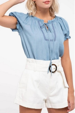 MONTREZ Peasant Chambray Top - Product List Image