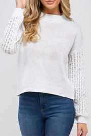 MONTREZ White Loose-Knit Sweater - Product Mini Image