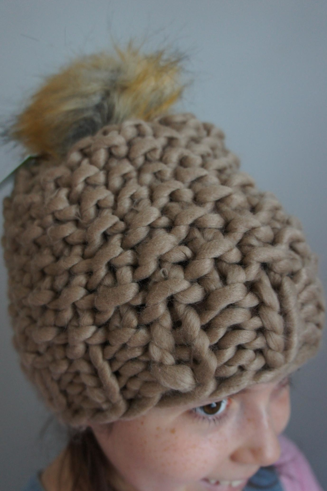 Moo Moo Designs Taupe Chunky Pompom-Beanie - Front Cropped Image