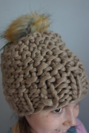 Moo Moo Designs Taupe Chunky Pompom-Beanie - Product Mini Image