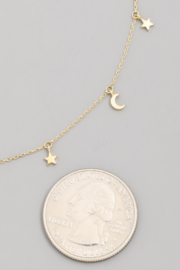 FAME ACCESORIES Moon and Star Choker - Front full body