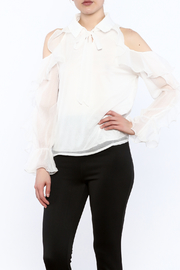 Moon White Cold Shoulder Blouse - Product Mini Image