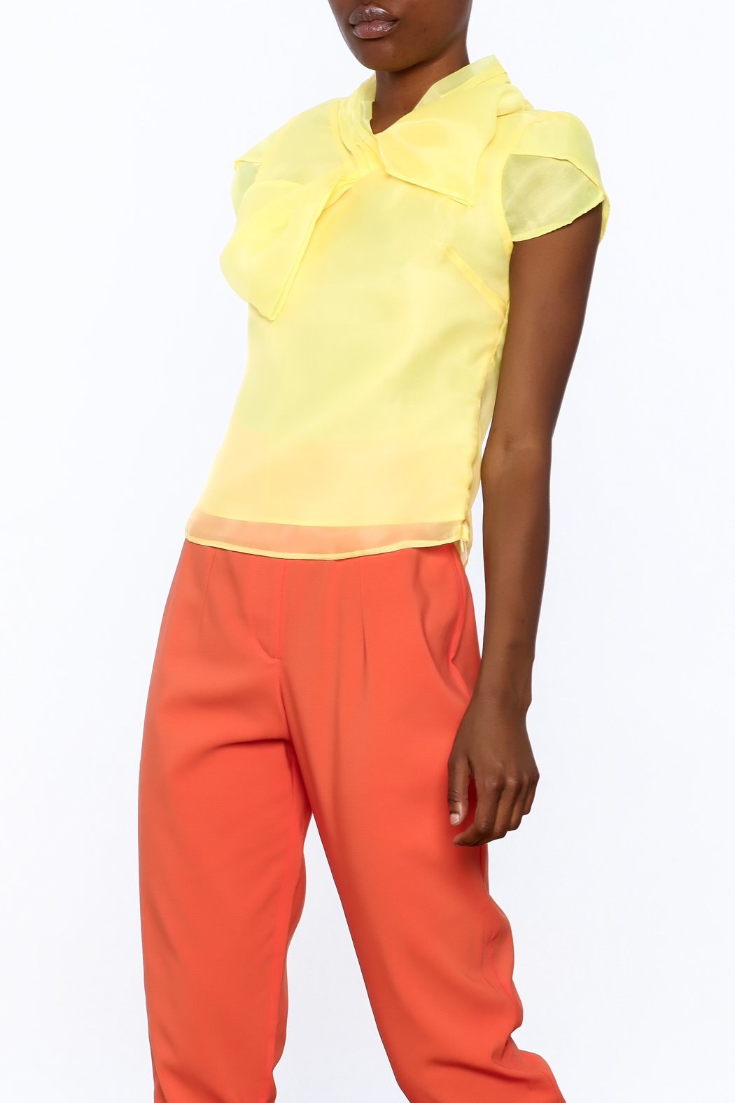 Moon Collection Silky Cap Sleeve Blouse - Front Cropped Image