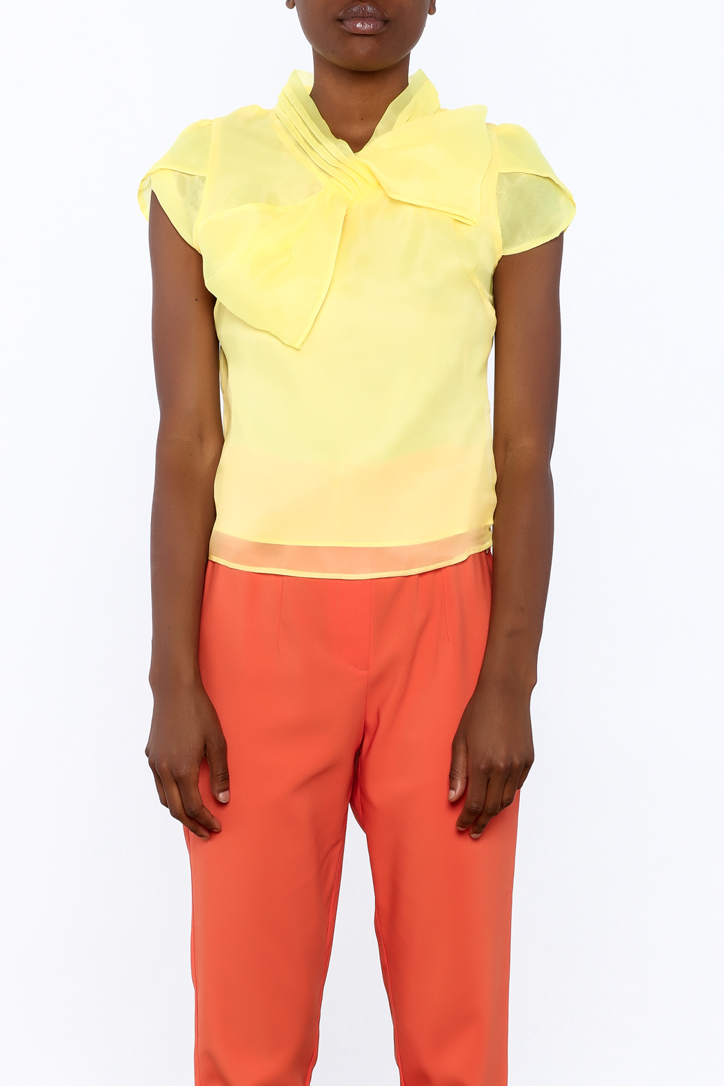 Moon Collection Silky Cap Sleeve Blouse - Side Cropped Image