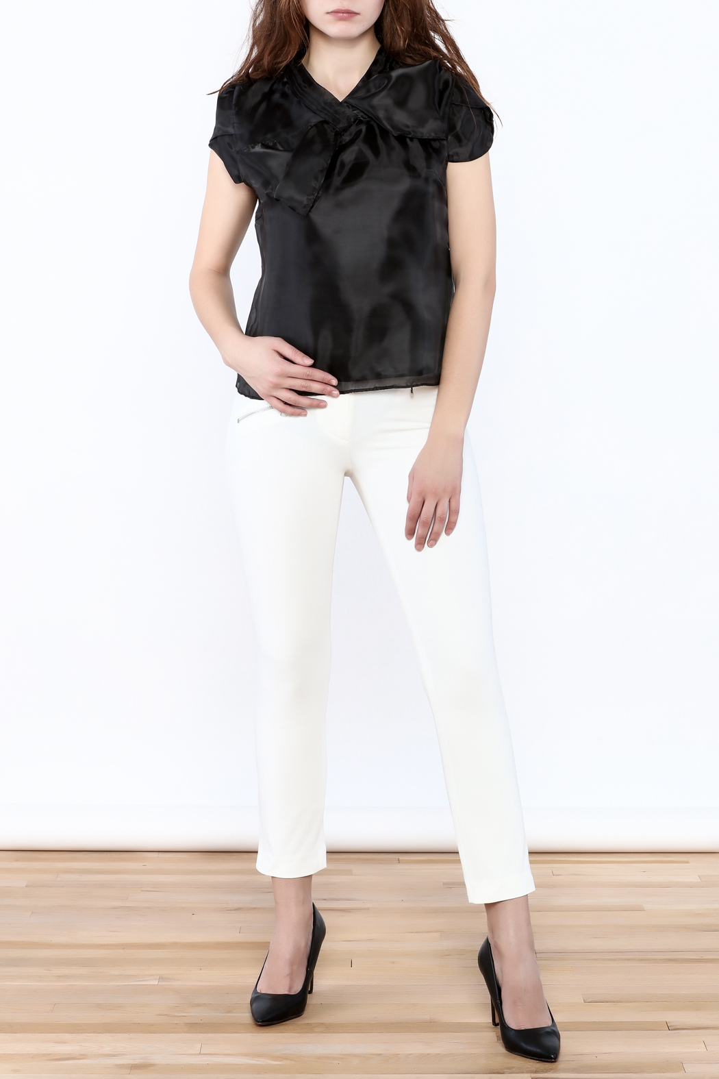 Moon Collection Silky Cap Sleeve Blouse - Front Full Image