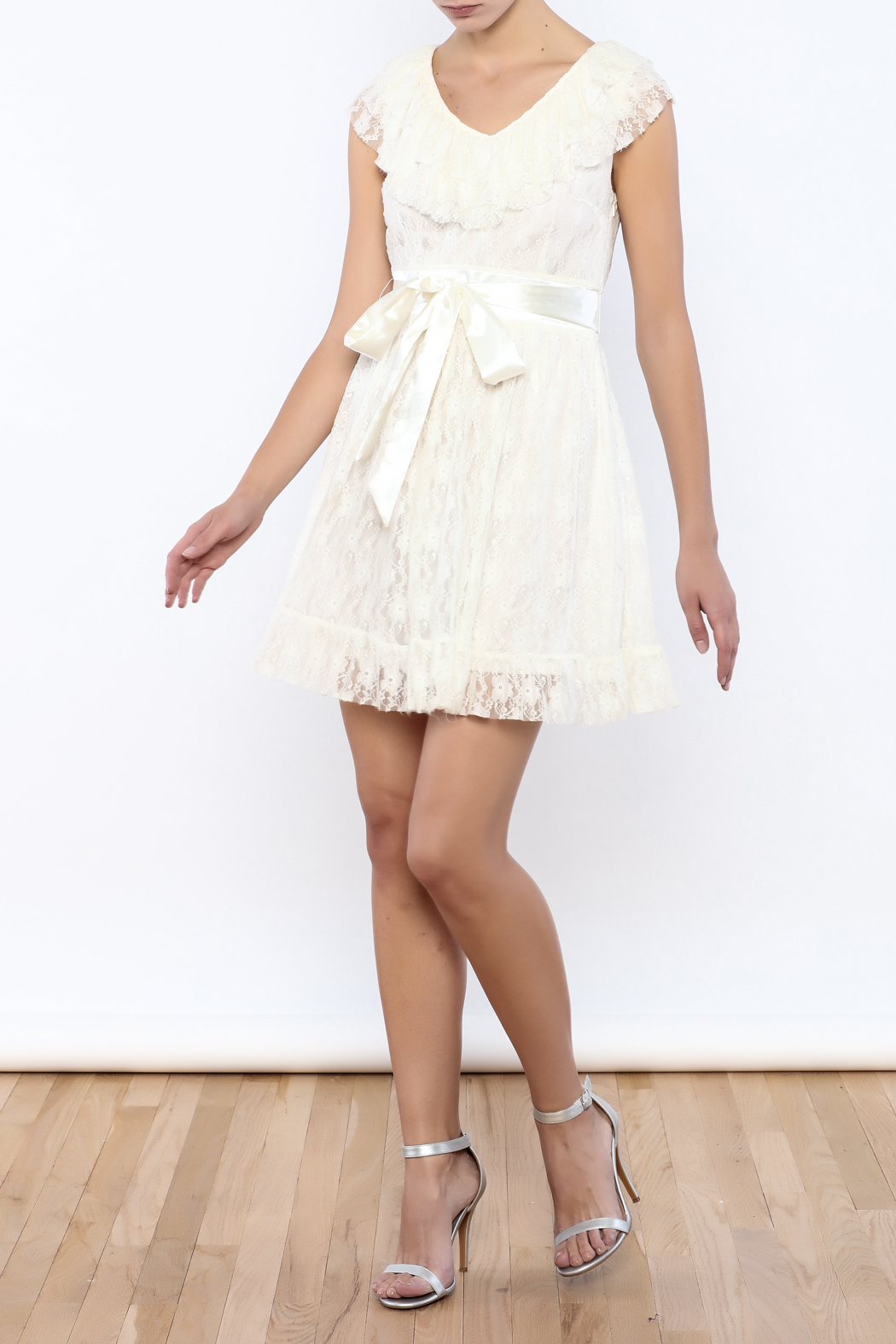 Moon Collection Lace Belted Dress - Front Full Image
