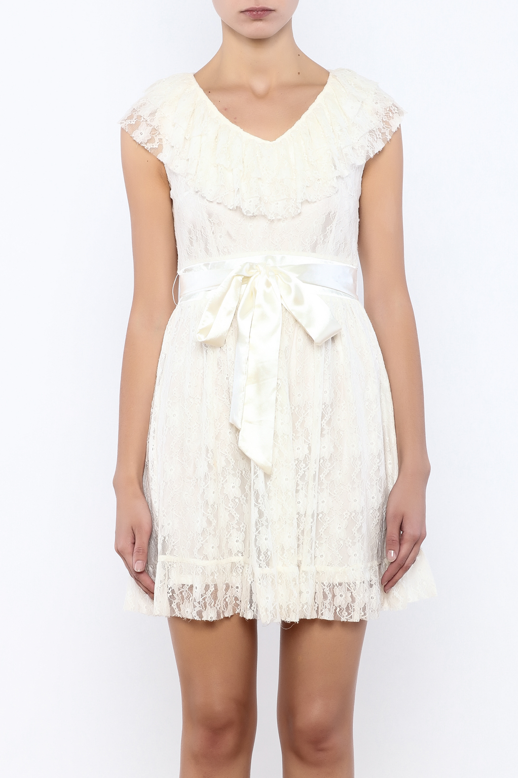 Moon Collection Lace Belted Dress - Side Cropped Image