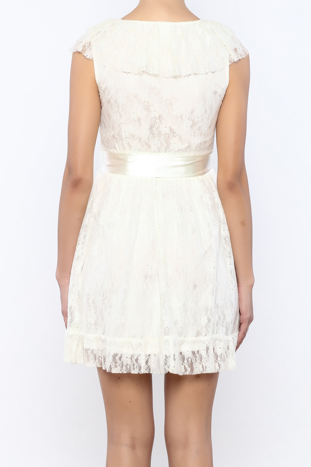 Moon Collection Lace Belted Dress - Back Cropped Image