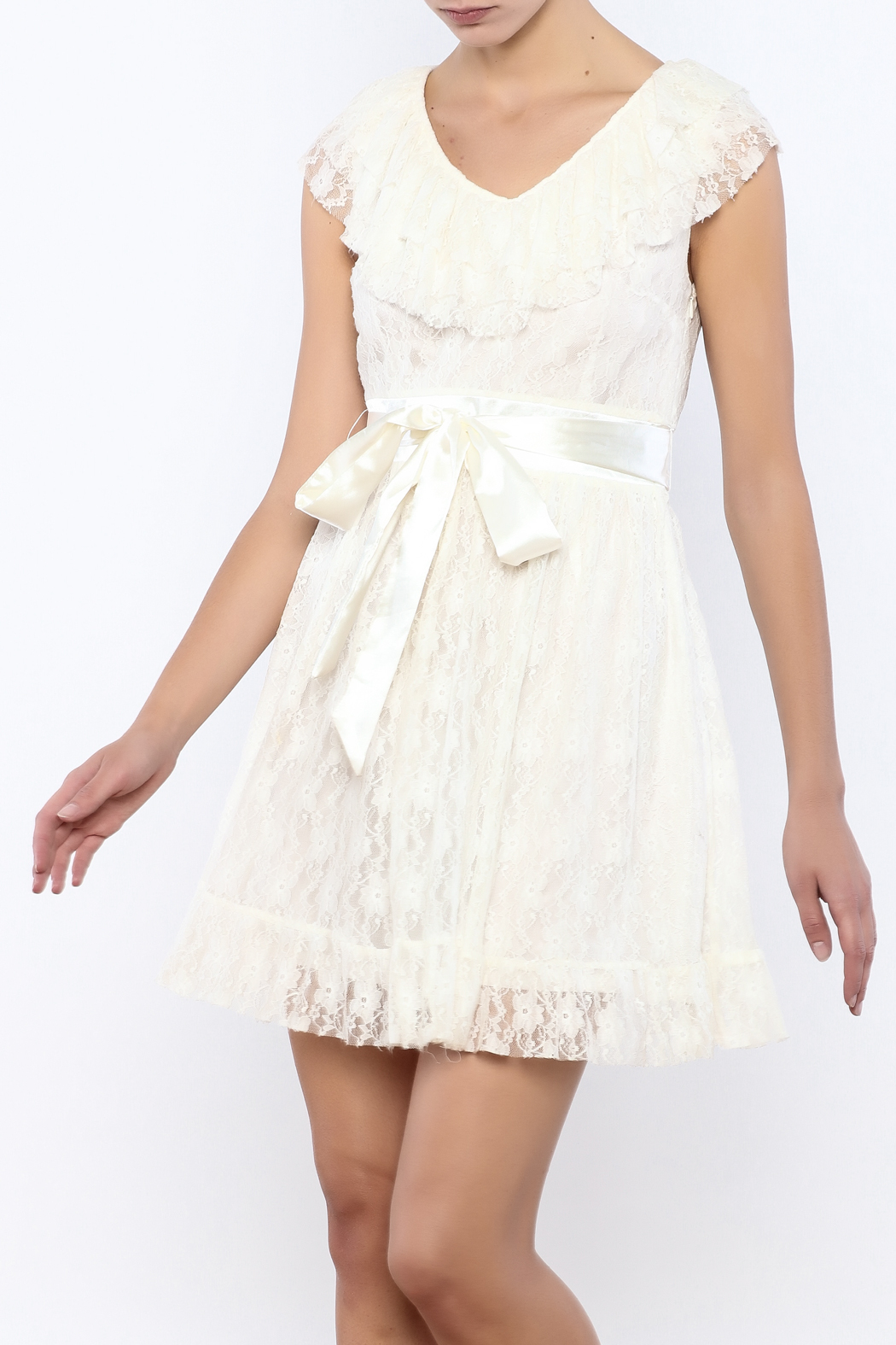 Moon Collection Lace Belted Dress - Main Image