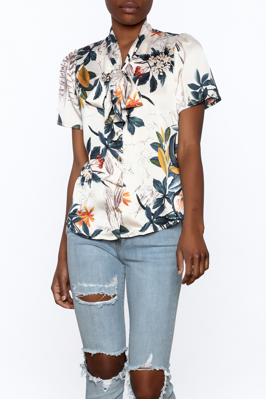 Moon Floral Satin Blouse - Front Cropped Image