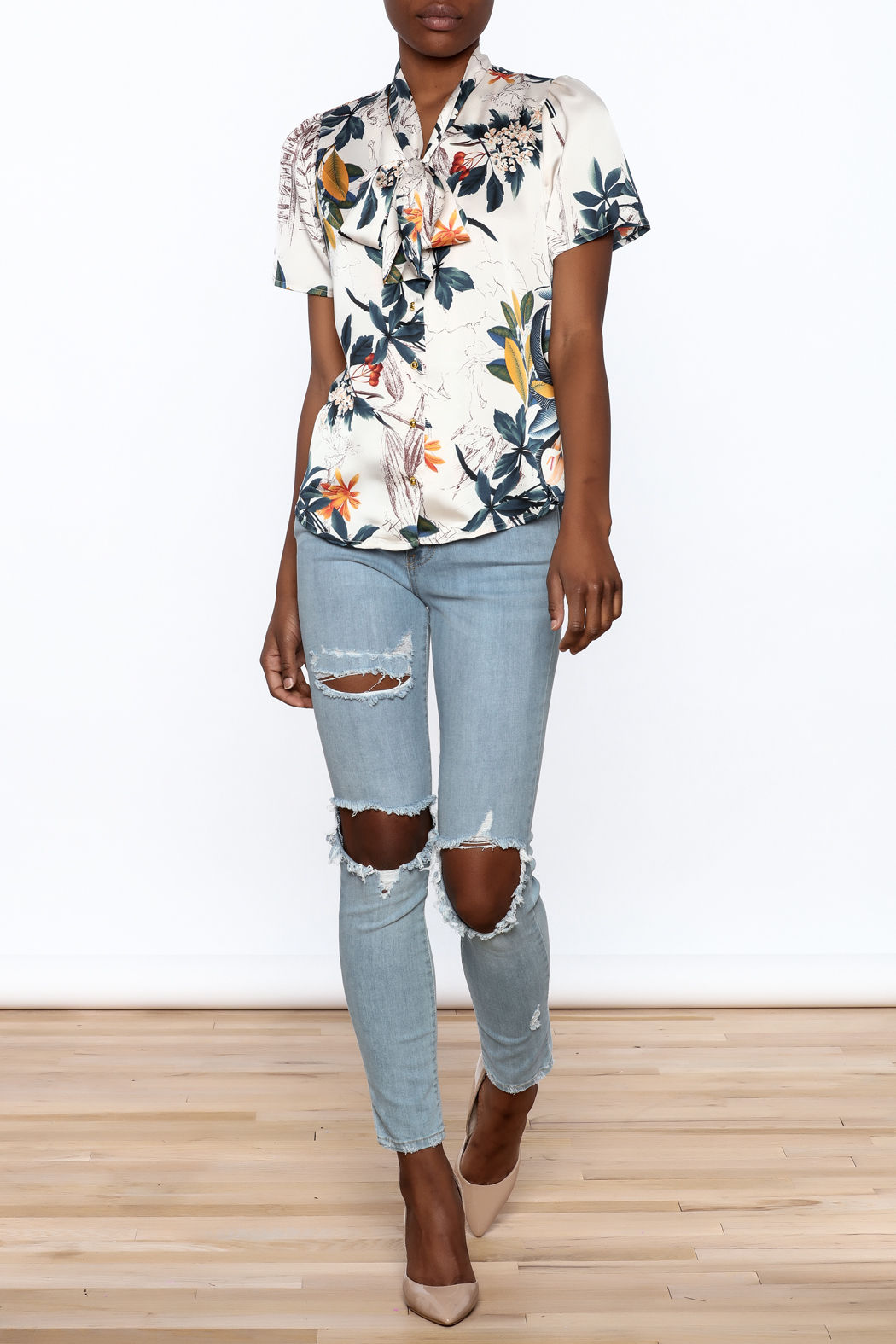 Moon Floral Satin Blouse - Front Full Image