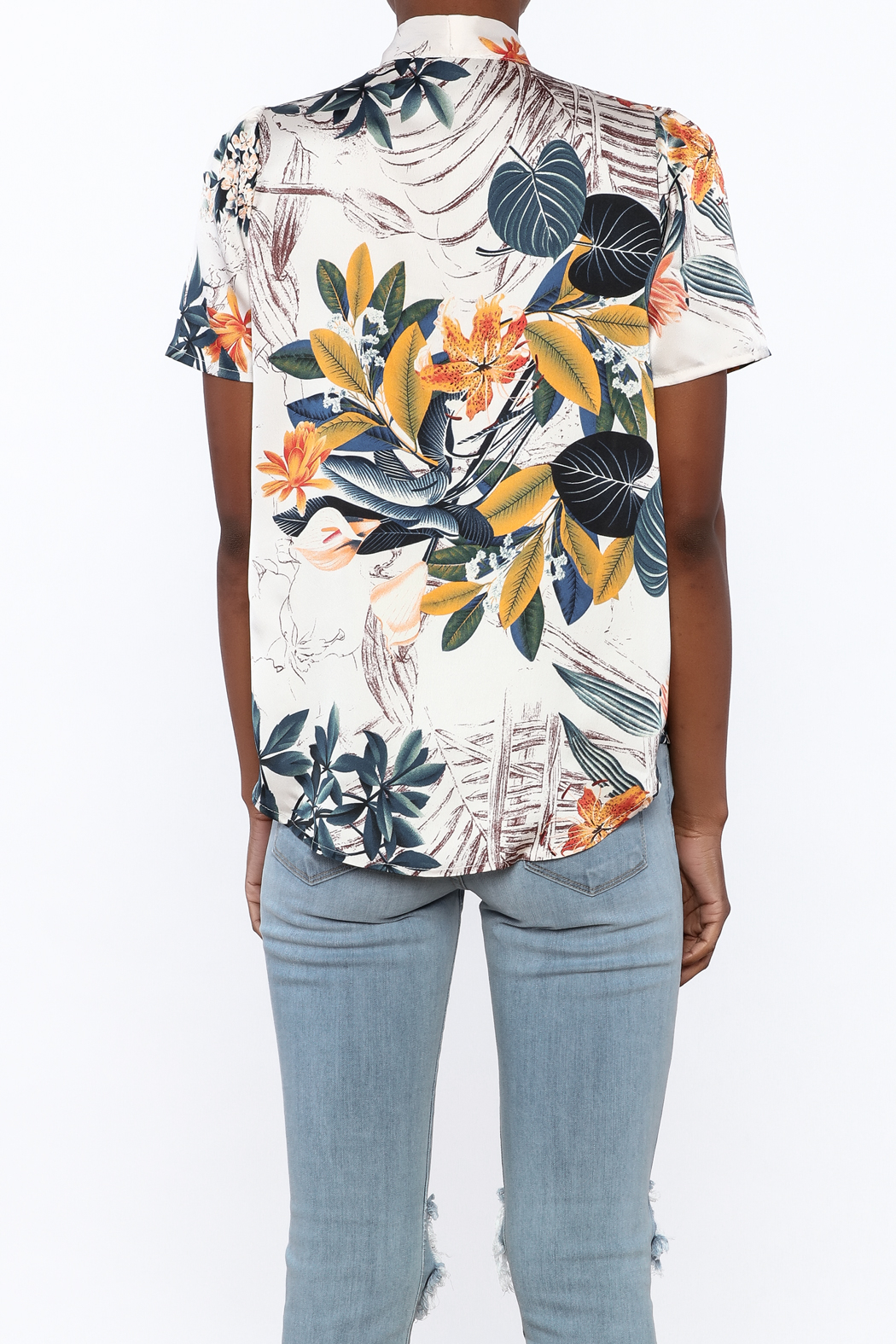 Moon Floral Satin Blouse - Back Cropped Image
