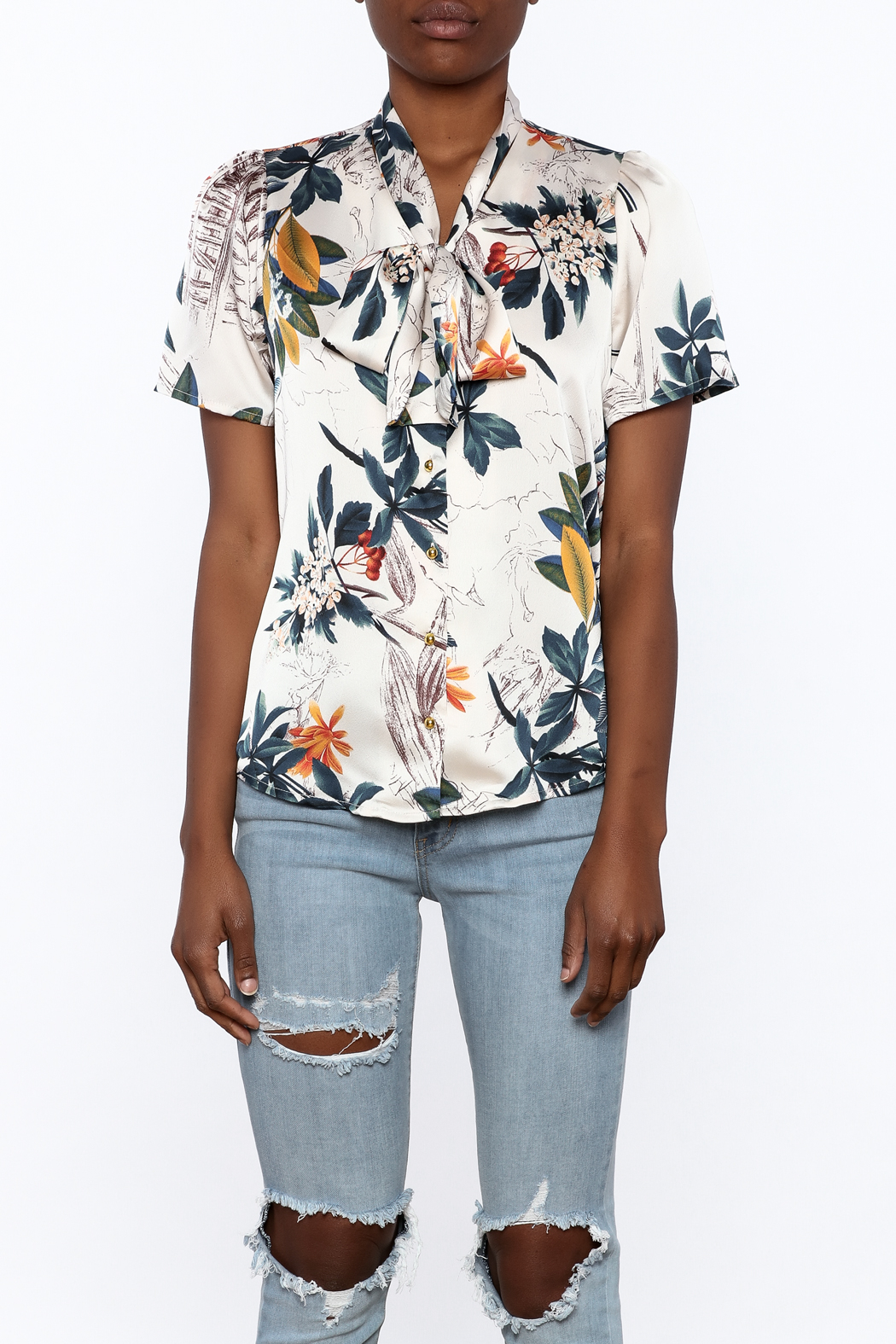 Moon Floral Satin Blouse - Side Cropped Image
