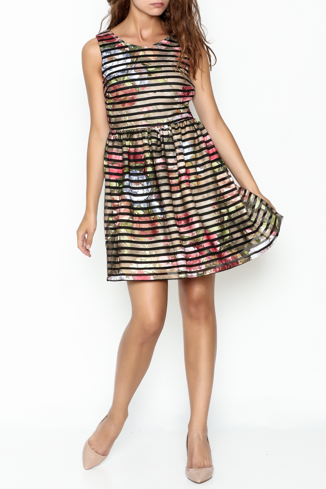 Moon Floral Stripe Dress - Main Image