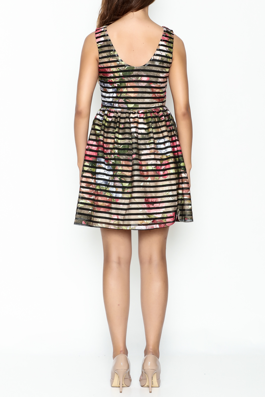 Moon Floral Stripe Dress - Back Cropped Image