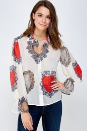 Moon Printed Button-Down Top - Product Mini Image