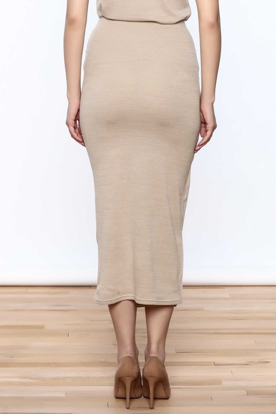 Moon River Beige Knit Midi Skirt - Back Cropped Image