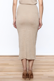 Moon River Beige Knit Midi Skirt - Back cropped