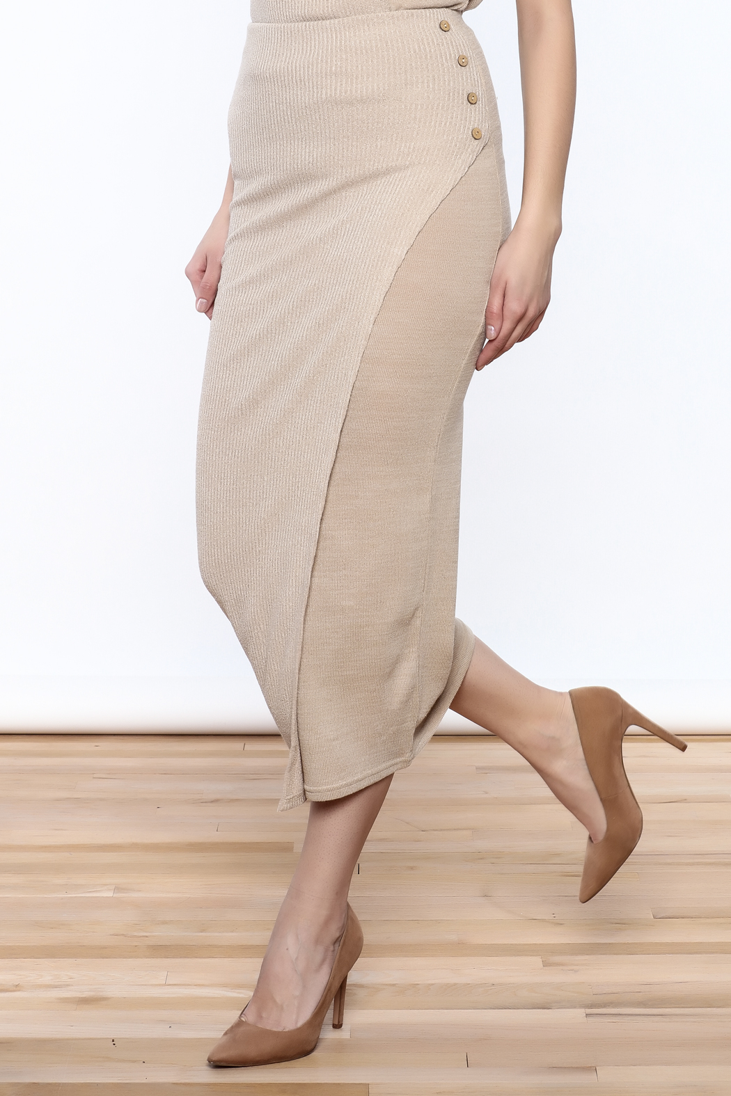 Moon River Beige Knit Midi Skirt - Front Cropped Image