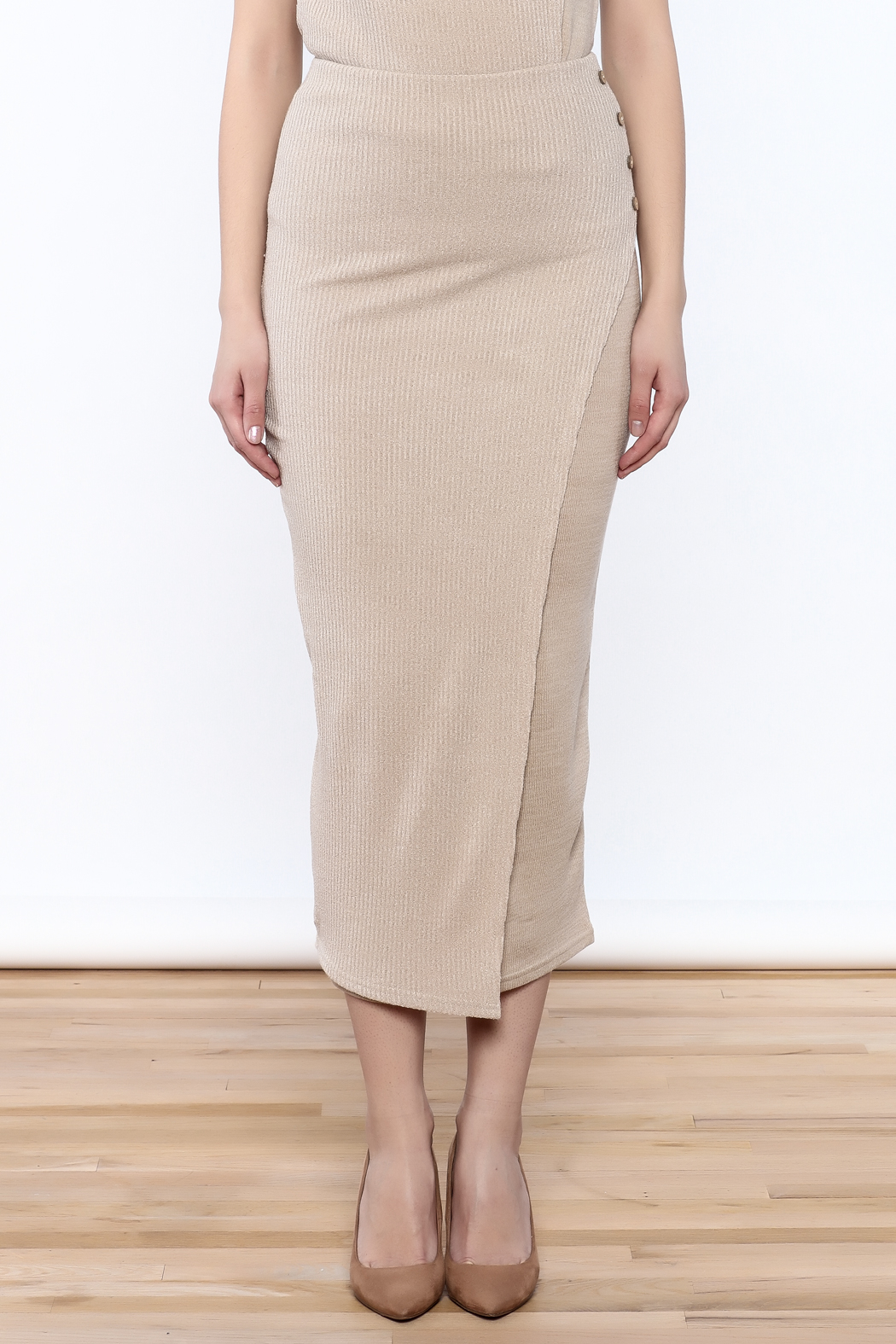 Moon River Beige Knit Midi Skirt - Side Cropped Image