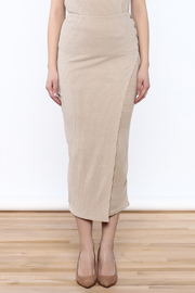 Moon River Beige Knit Midi Skirt - Side cropped
