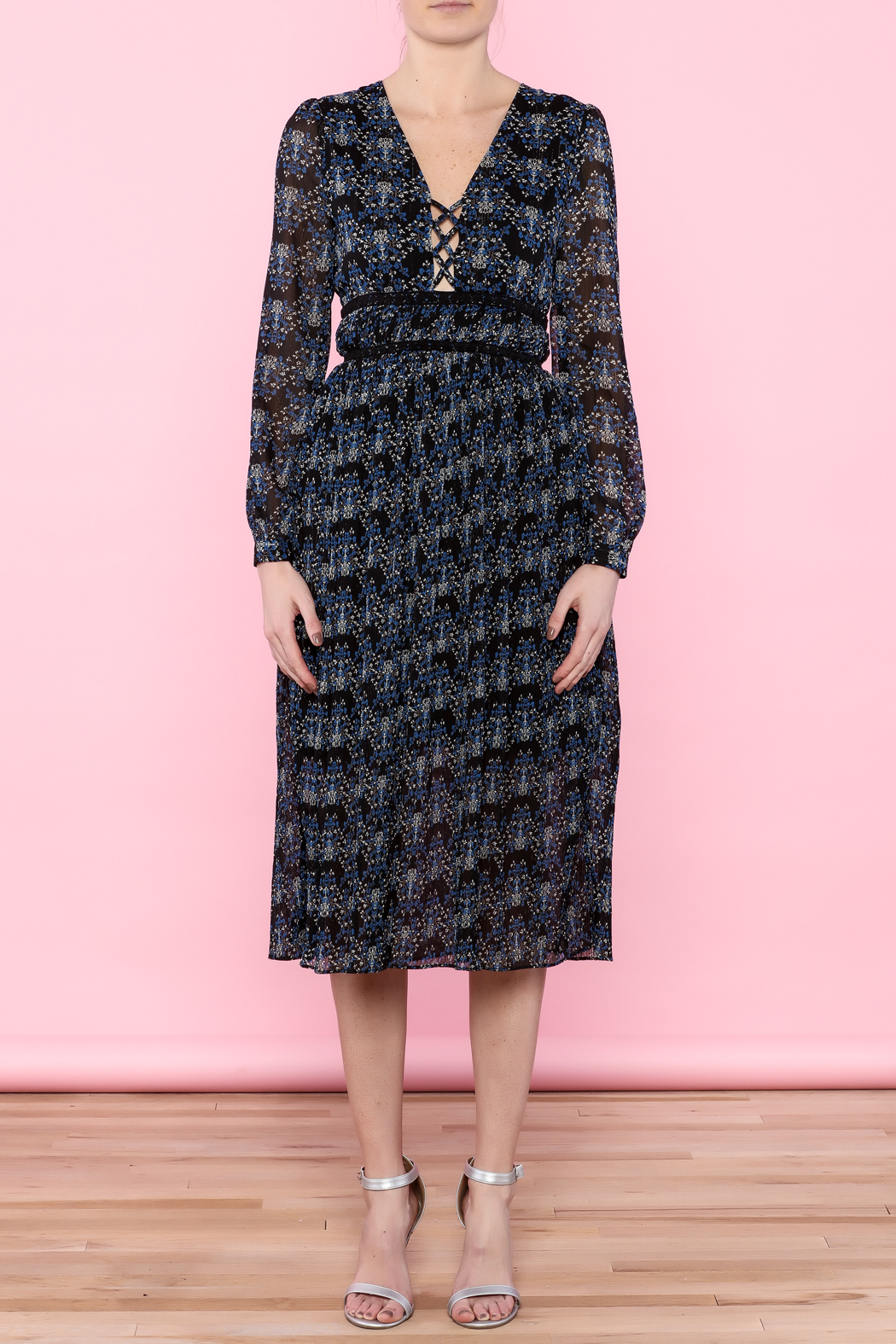 Moon River Midnight Blue Sheer Midi Dress - Front Cropped Image