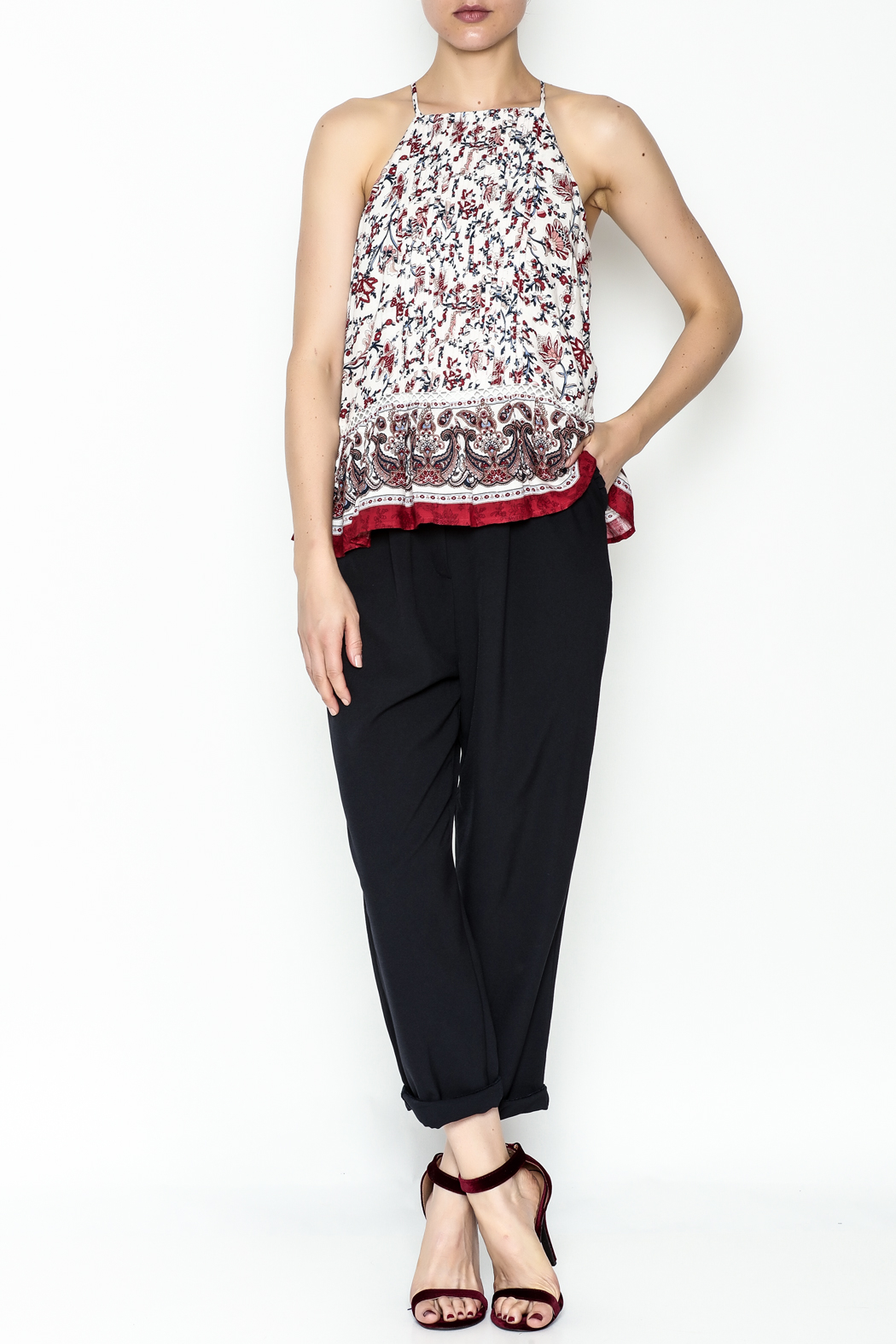 Moon River Printed Pleated Blouse - Side Cropped Image